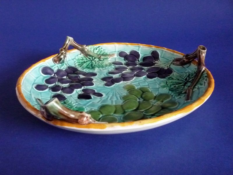 Basket Weaving Grapevines : Wedgwood majolica grape and basket weave round dish c